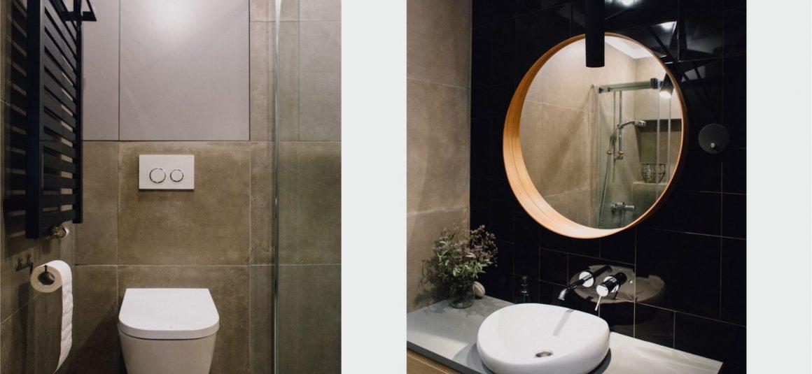 projekt łazienki, minimalizm, lustro, umywalka roca