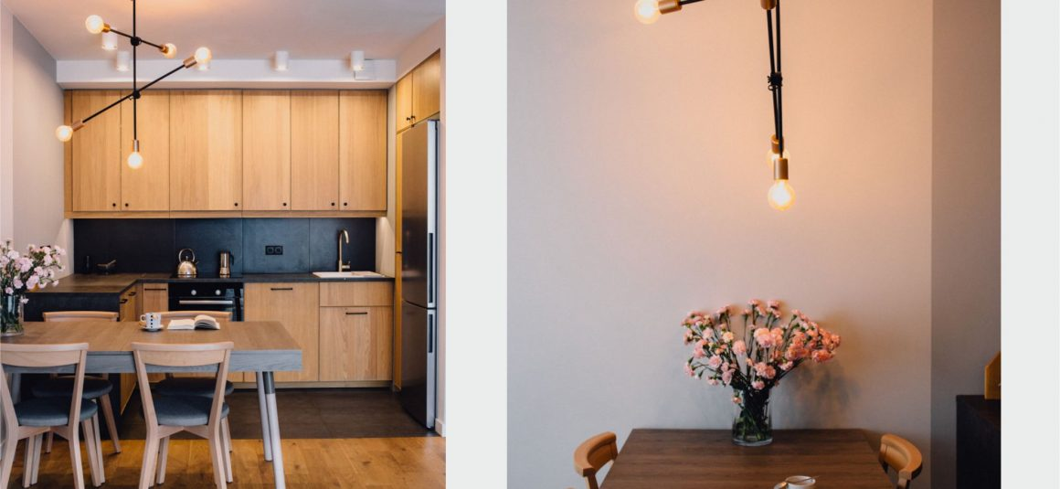 kuchnia dąb, projekt wnętrza