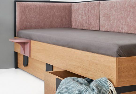 Łóżko modernizm pojemniki