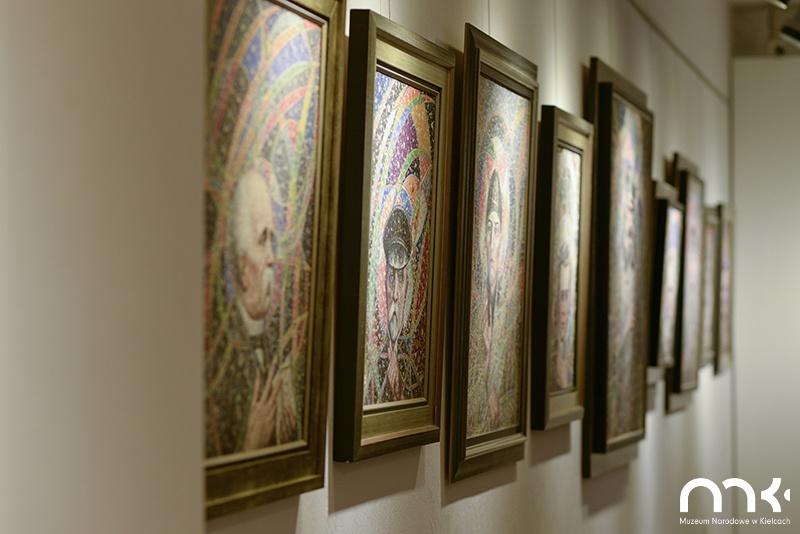 wystawa obrazów, obraz bolesław biegas, biel, tablica informacyjna