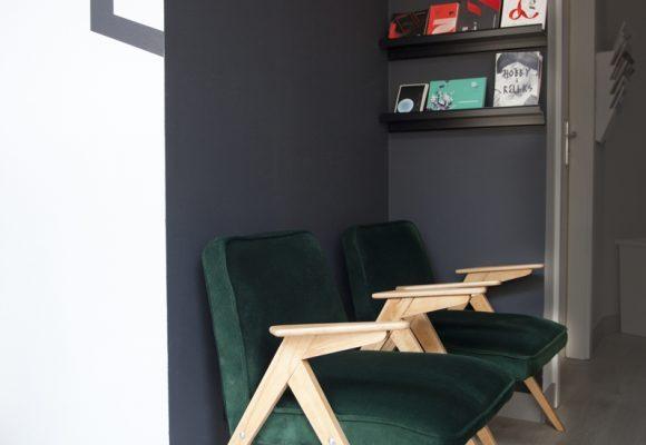 dizajn, projekt, design, projekt wnętrz, krzesła, zieleń,