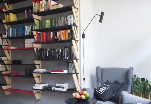 dizajn, projekt, design, projekt wnętrz, regały, książki,