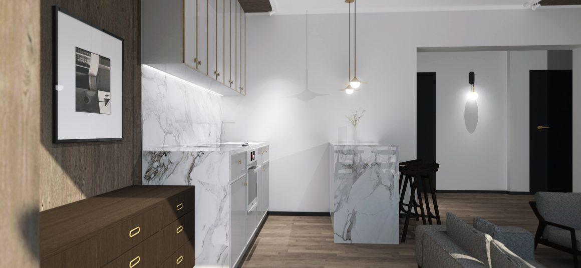projekt kuchni, salon, apartament, biały marmur, dizajn, projekt, design, projekt wnętrza, meble,