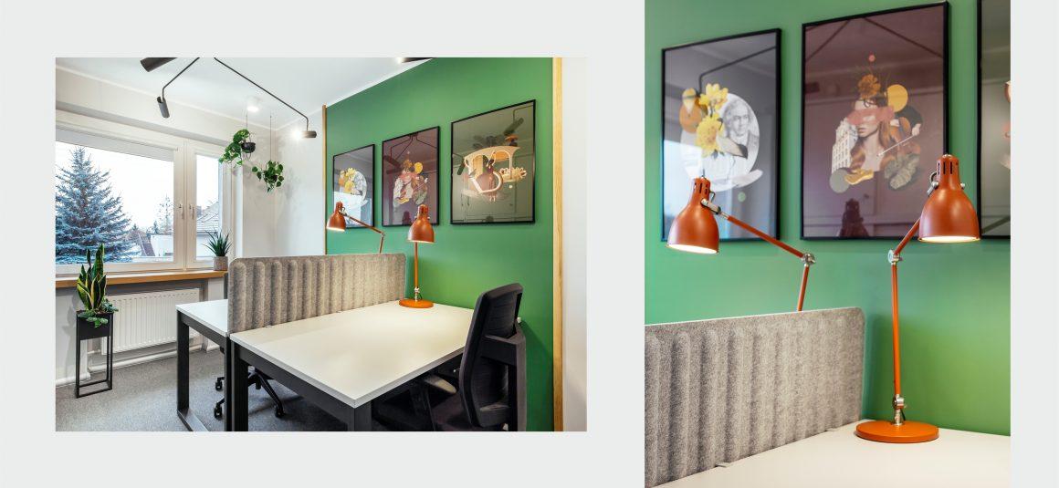 plakaty, lampa biurowa, miejsce pracy, projekt wnętrza