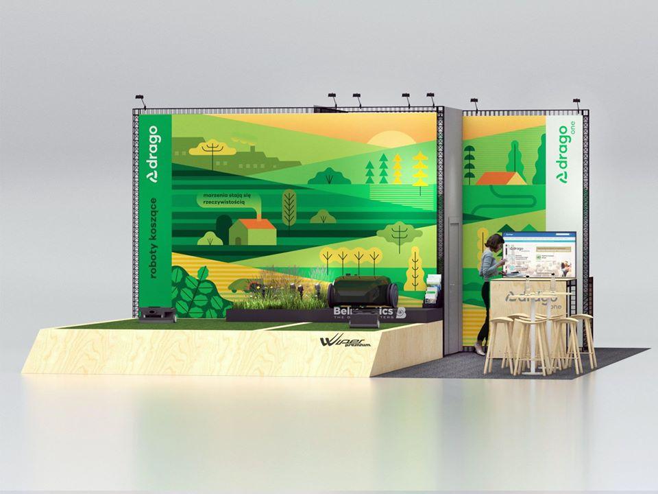 Projekt stoiska targowego, wizualizacja