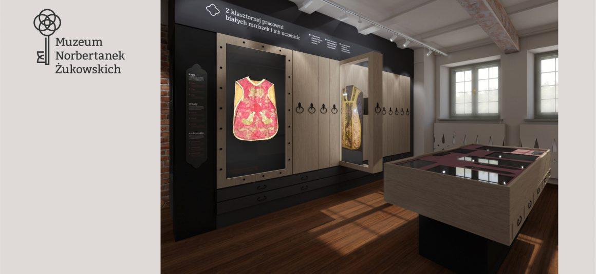 Projekt muzeum, wnętrza, gabloty,